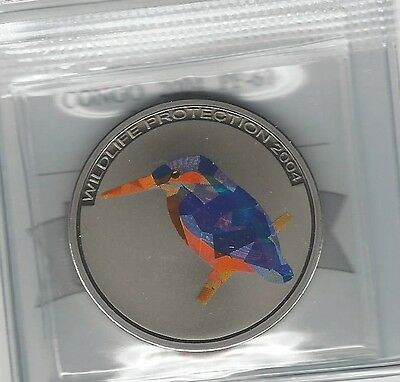**2004**Congo, 5 Francs, Coin Mart Graded**PF-67**Wildlife Protection Blue Bird