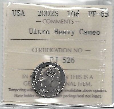 **2002S** USA, Roosevelt Dime, ICCS Graded **PF-68 UHC**