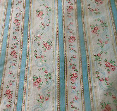 Vintage French Pink Blue Lisere Roses Floral Garland Cotton Fabric ~pillow dolls