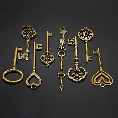 10 Antique Vtg old look Ornate Skeleton Keys Lot Pendant Fancy Heart Bow Favors