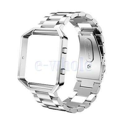 Silver STEEL LINKS Wristband Band Strap Frame Accessories For FITBIT BLAZE HM