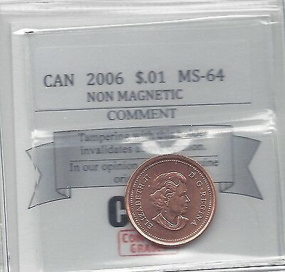 **2006**Coin Mart Graded Canadian Small One Cent, **MS-64 Non Mag**