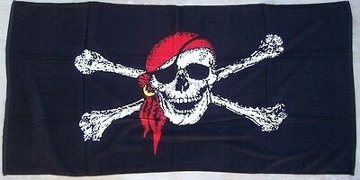 """Beach Blanket Towel Jolly Roger Pirate Flag 30""""x60"""" NEW 100% Cotton"""
