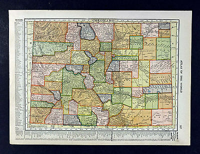 1912 Hammond Map - Colorado - Denver Bolder Pueblo Leadville Golden Durango