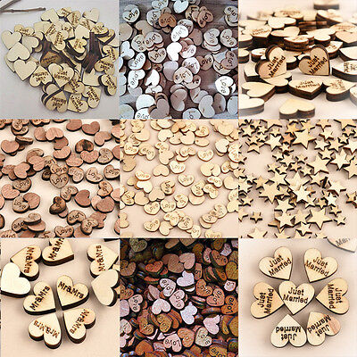 100pcs Lot DIY Rustic Wooden Wood Love Heart Wedding Table Scatter Decors Craft