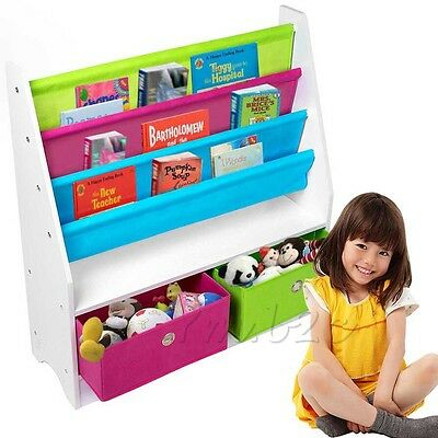 Children/Kids Wooden Book Toy Rack Holder Shelf Storage Organizer with 2 box