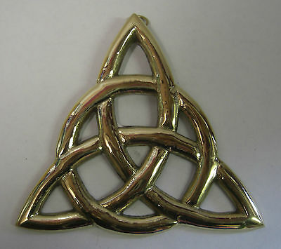 Ireland Hand Crafted Brass Wall Plaque Trinity Knot - Large