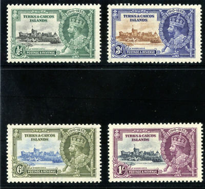 Turks & Caicos 1935 KGV Silver Jubilee set complete MLH. SG 187-190. Sc 71-74.
