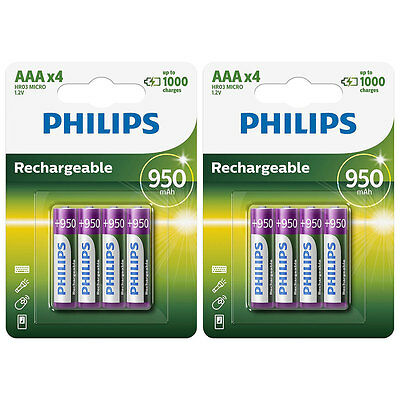 8x Philips AAA 950 mAh NiMH Rechargeable Batteries LR03 HR03 Dect Cordless Phone