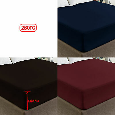 50cm Cotton Polyester Percale Deep Wall Fitted Sheet - QUEEN