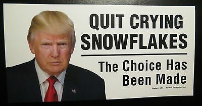 Lot Of 20 Quit Crying Snowflakes The Choice Has Been Made Trump Stickers 45Th