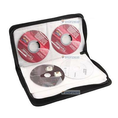 Hot 80 Disc CD Holder DVD Case Storage Wallet VCD Organizer Faux Leather Bag SN