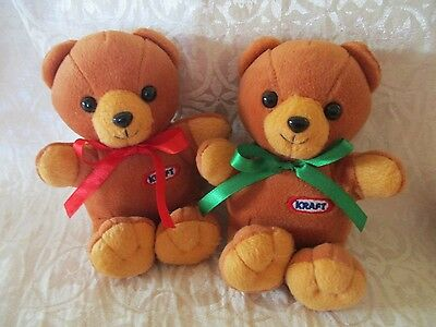 "TWO KRAFT PEANUT BUTTER BEARS -  Plush Toy Mascot  6"" Tall -"