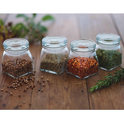 Set Of 4 Square Glass Spice Jars 110ml Small Kitchen Herb Storage Containers New