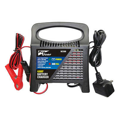 Pro User 4 Amp 12v Car and Bike Battery Charger for Lead Acid and Gel Batteries