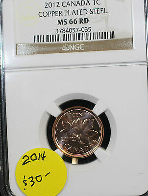 **2012**,NGC Graded Canadian,  Small One  Cent, **MS-66**