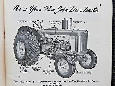 Original 1959 John Deere 830 Diesel Tractor Operators Manual Very Good Shape