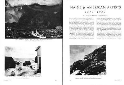 1963 Vintage Print Article Maine & American Artists 1710-1963 Homer Wyeth
