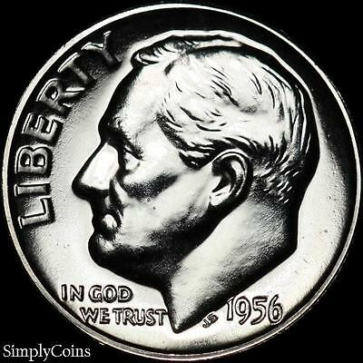 1956 Roosevelt Dime ~ GEM PROOF Uncirculated ~ 90% Silver US Coin