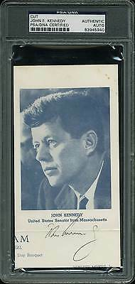 John F. Kennedy Authentic Signed 3.75x6.75 Cut Signature PSA/DNA Slabbed