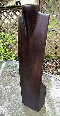 """Mid Century Modern Solid Wood Bust Stand Jewelry Necklace Display 16"""" Mannequin"""