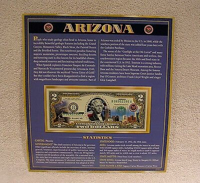 Arizona   $2 Two Dollar Bill - Colorized State Landmark - Uncirculated Authentic