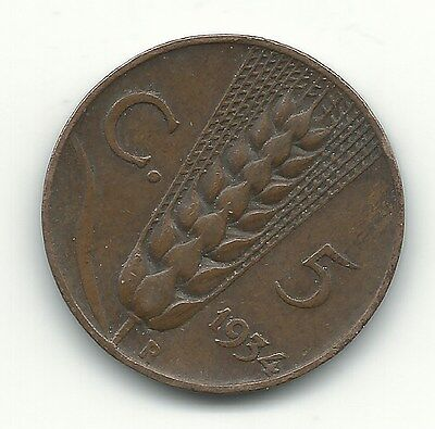 Vintage Very Nice Higher Grade 1934 R Italy 5 Centesimi Coin-Apr280