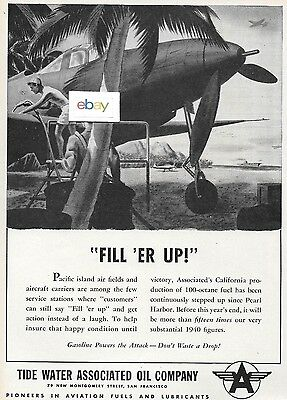 Tide Water Associated Oil Company Flying A Veedol 1944 Fill Er Up Bell Cobra Ad