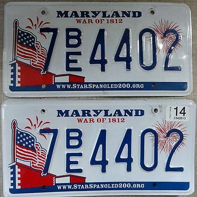 "ღ♥´‿`♥ღ  Usa 2014 Maryland ""flag"" Pair Of License Plates."