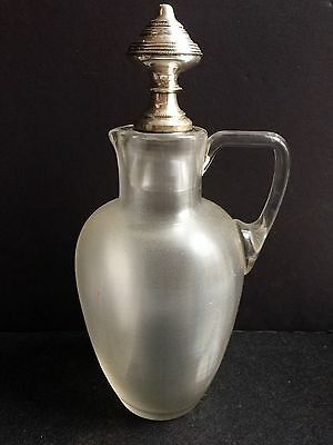 19th C. Blown Threaded Glass Pontil Claret Jug Hallmark Silver Stopper Sterling?