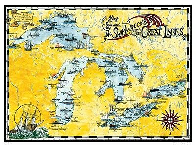 A Nautical Poster Of A Map Showing The Ship Wrecks Of The Great Lakes  New!!!