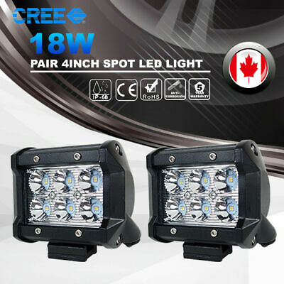 Pair 4inch 18W CREE LED Spot Light Bar Offroad 4WD Fog ATV SUV Jeep Driving Lamp