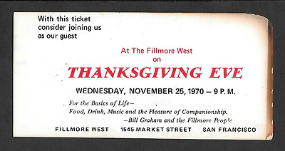 THANKSGIVING JAM Dead Airplane Janis  Original  BG Fillmore Concert Ticket 1970