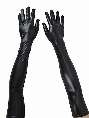 Women's Ladies Long Faux Leather Evening Party Opera Elbow-length Glossy Gloves