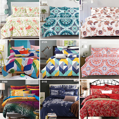 Quilt Doona Cover Set - Queen Super King Size Bedding Colour Pattern Printed a4