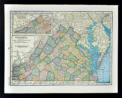 1905 Hammond Map Virginia Richmond Norfolk Petersburg Charlottesville Alexandria