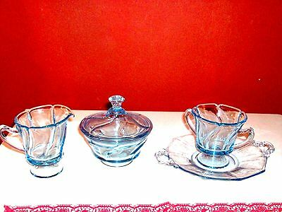 UNIQUE 4 PIECES ANTIQUE VINTAGE Cambridge Depression Glass BLUE SET -RARE FIND!