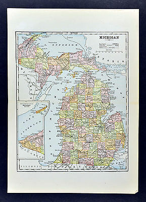 c 1884 Fisk Map - Michigan Detroit Mackinac Island Kalamazoo Lansing Great Lakes