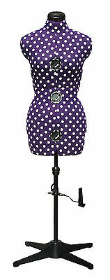 NEW | Adjustoform Purple Polka Dot 8-Part Adjustable Dressmaker's Dummy UK 16-20