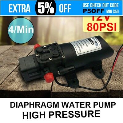 12V 80PSI 4LPM 60W Diaphragm Water Pump High Pressure Self Priming Caravan Boat