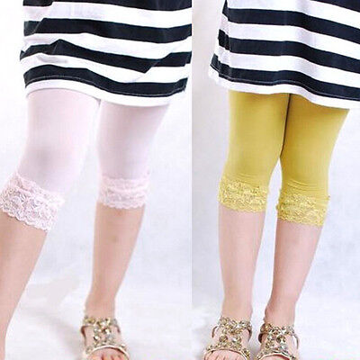 Kids Girls Candy Color Lace Velvet Skinny Stretchy Leggings Pants Trousers 5-9Y