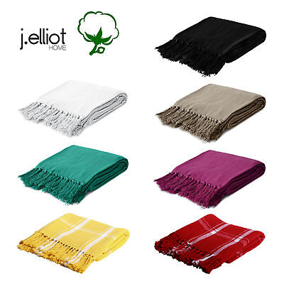 100% Cotton Fringed Lounge Sofa Bed Throw Rug Blanket 125 x 150 cm by J.elliot
