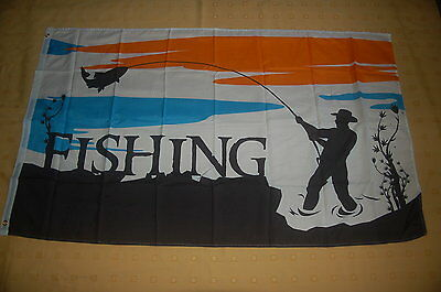 Fishing Angler angeln Fische Wasser Flagge Fahne Hißflagge Hissfahne 150 x 90 cm
