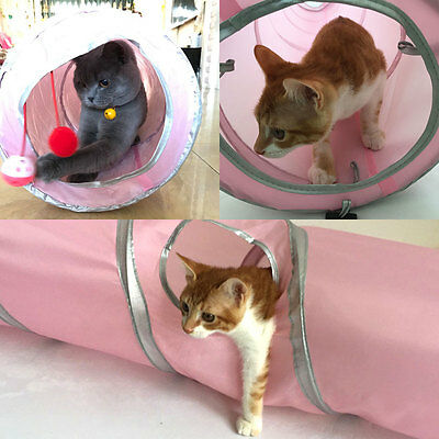 Pet Cat Tunnel Tubes Collapsible Crinkle Kitten Rabbit Play Funny Tunnels Toys