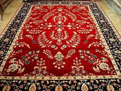 Love Red Kashan Real Hand Knotted Fine Carpet 9X12 Art
