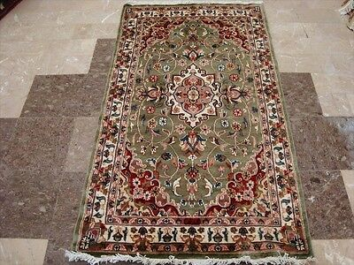 WOW GREEN FLORAL MEDALLION HAND KNOTTED RUG WOOL SILK CARPET 5x3 FB-2525
