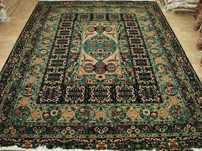 Black Base Flowral Hand Knotted Fine Rug Carpet 9X12