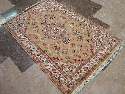 WOW FLORAL MEDALLION HAND KNOTTED RUG WOOL SILK CARPET 5x3 FB-2527