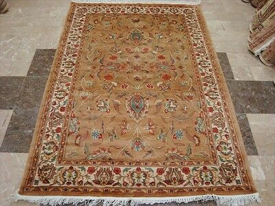 AWESOME PESTAL FLORAL MEDALLION HAND KNOTTED RUG WOOL SILK CARPET 6x4 FB-2309