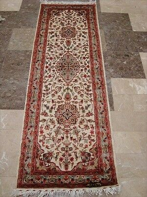 WOW IVORY FLORAL MEDALLION HAND KNOTTED RUG RUNNER WOOL SILK CARPET 6x2 FB-2489